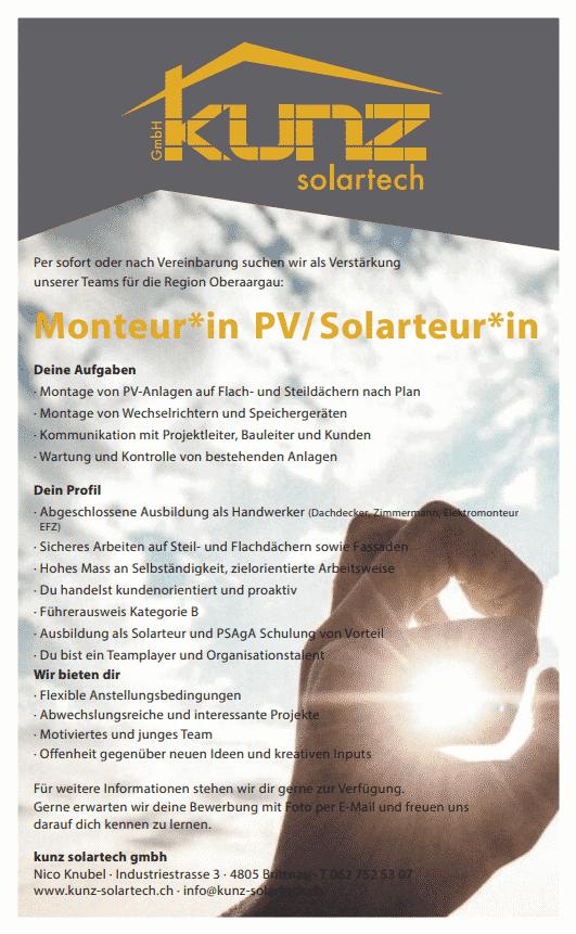 Jobs - image Monteurin-PV on https://kunz-solartech.ch